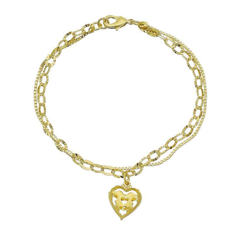 Pulseira Dupla Coração Vazado Ouro 18k-Giro Semijoias