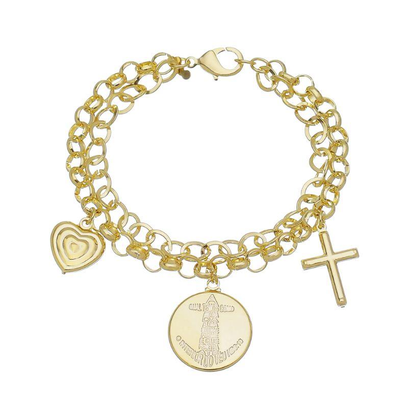 Pulseira Dupla Elo Português e Pipoca com Medalha Passagem Biblíca e Pingentes de Cruz Folheada em Ouro 18k