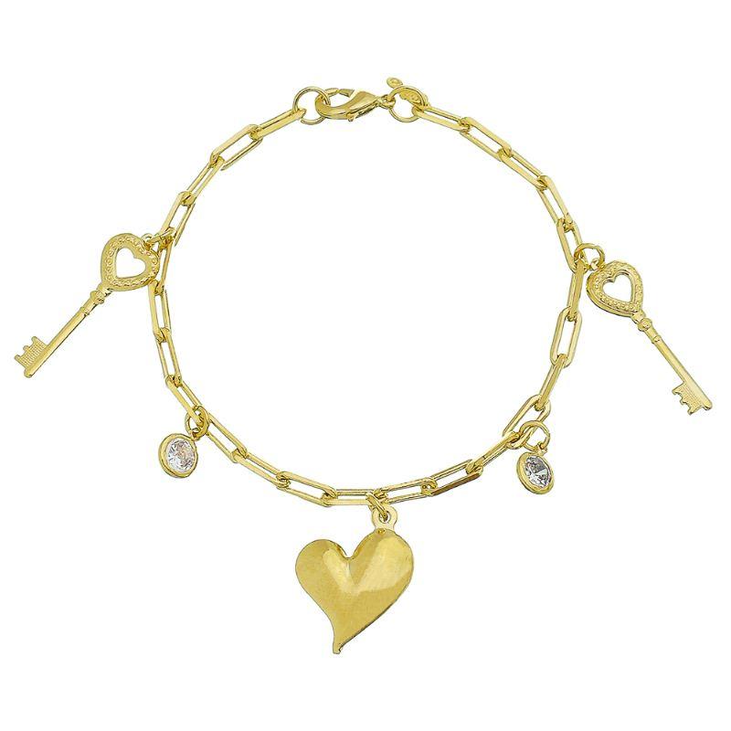 Pulseira Elo Cartier Com Pingente de Coração, Chave e Ponto de Luz em Zircônia Folheado em Ouro 18k