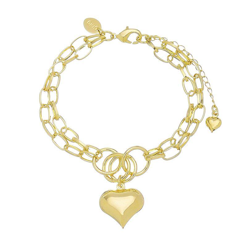 Pulseira Elo Cartier com Pingente de Coração Folheada em Ouro 18k
