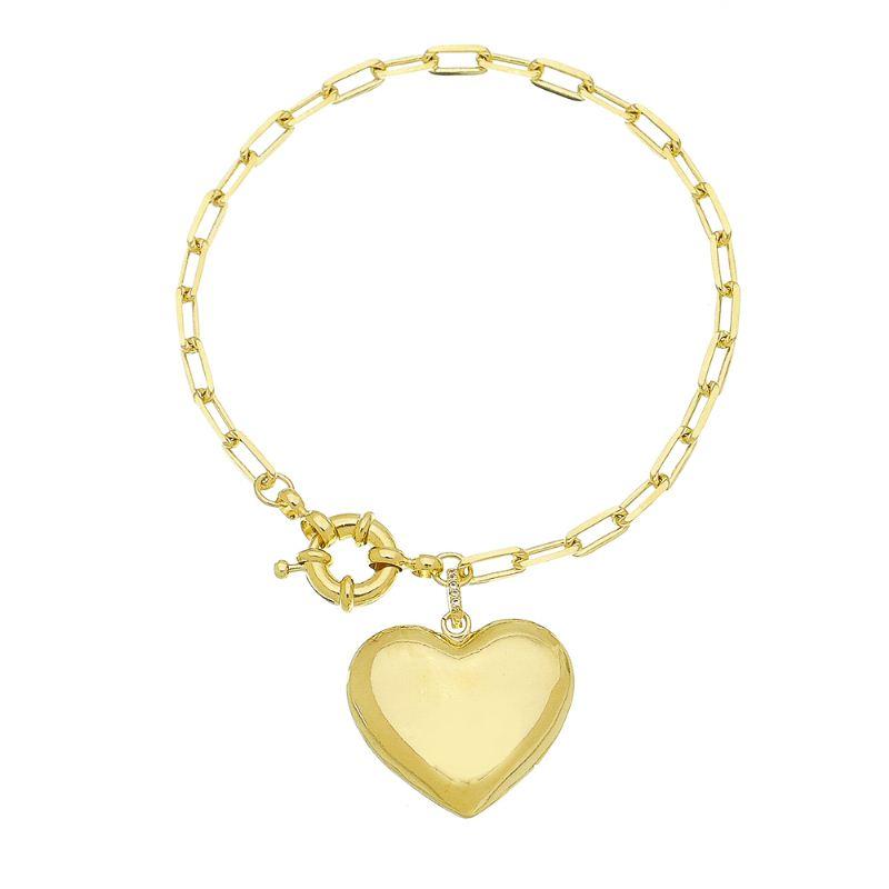 Pulseira Elo Cartier com Pingente de Coração Vazado Atrás Folheado em Ouro 18k