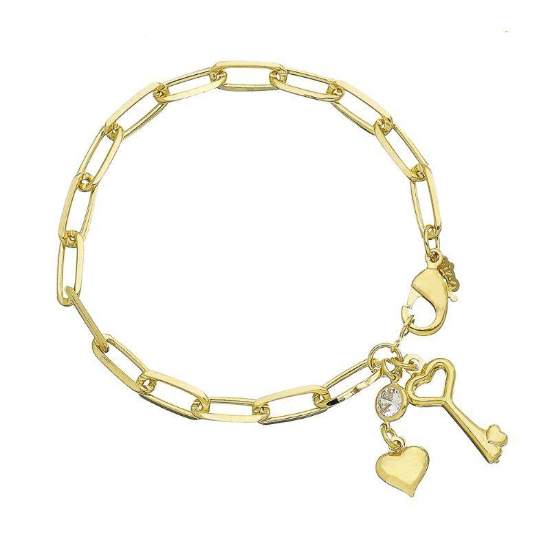 Pulseira Elo Cartier com Pingentes Chave, Coração e Ponto de Luz Folheada em Ouro 18k