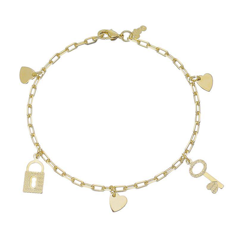Pulseira Elo Cartier com Pingentes de Coração, Chave e Cadeado Folheada em Ouro 18k