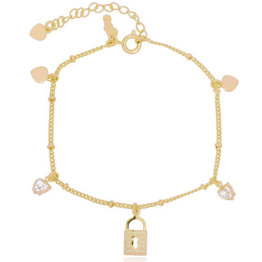 Pulseira Elo Groumet com Cadeado, Coração Liso e em Zircônia Folheada em Ouro 18k