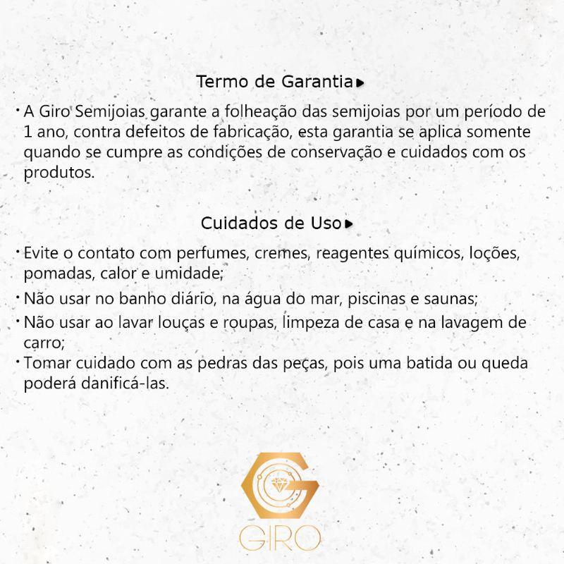 Pulseira Elo Pedra Cristal Placa Paz Ouro 18k-Giro Semijoias
