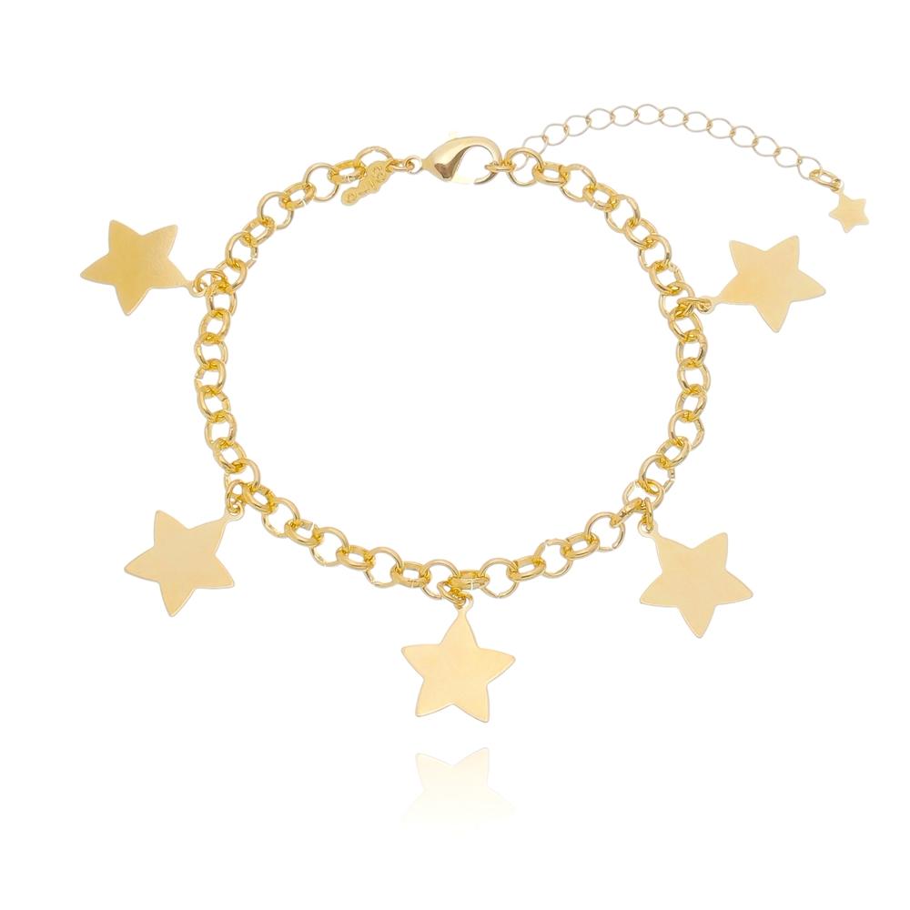 Pulseira Elo Português 5 Estrelas Folheada em Ouro 18k