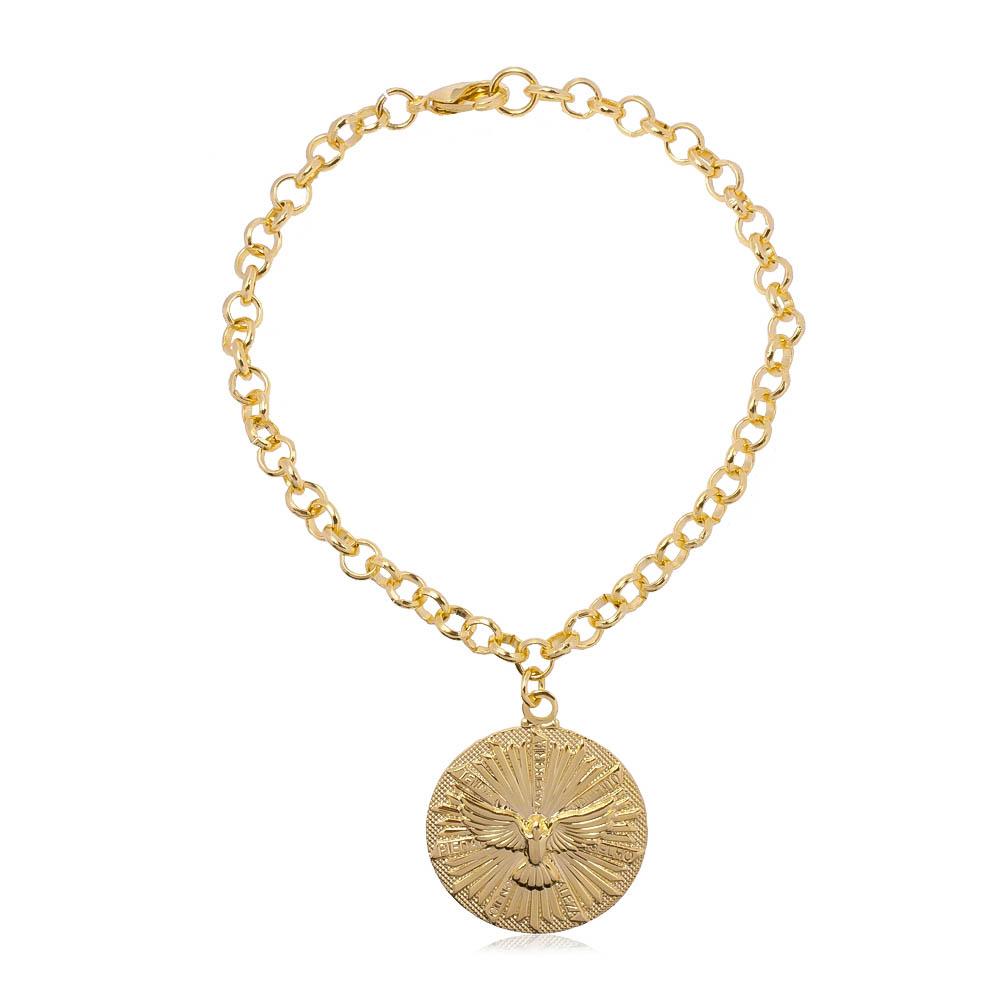 Pulseira Elo Português com Medalha Divino Espírito Santo Folheada em Ouro 18k