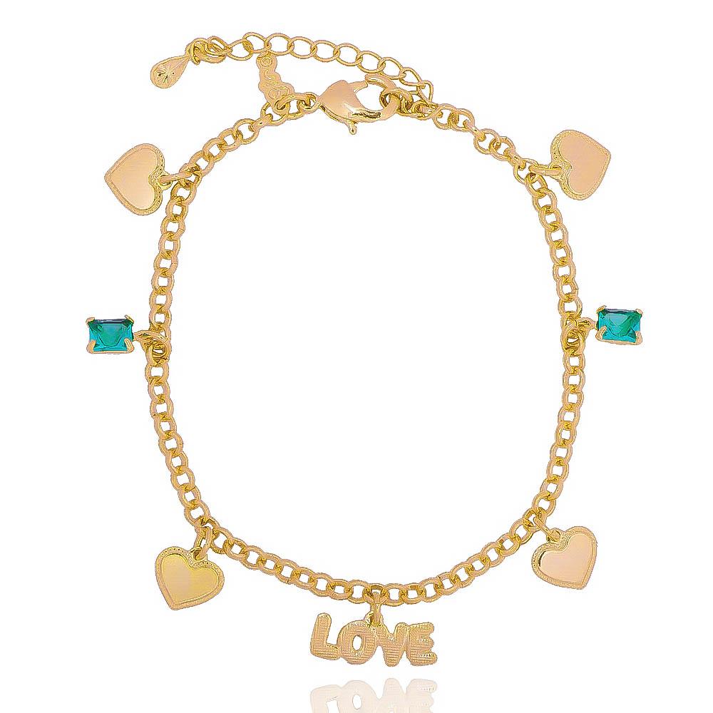 Pulseira Elo Português Love com Corações e Pedra em Cristal Verde Folheada em Ouro 18k