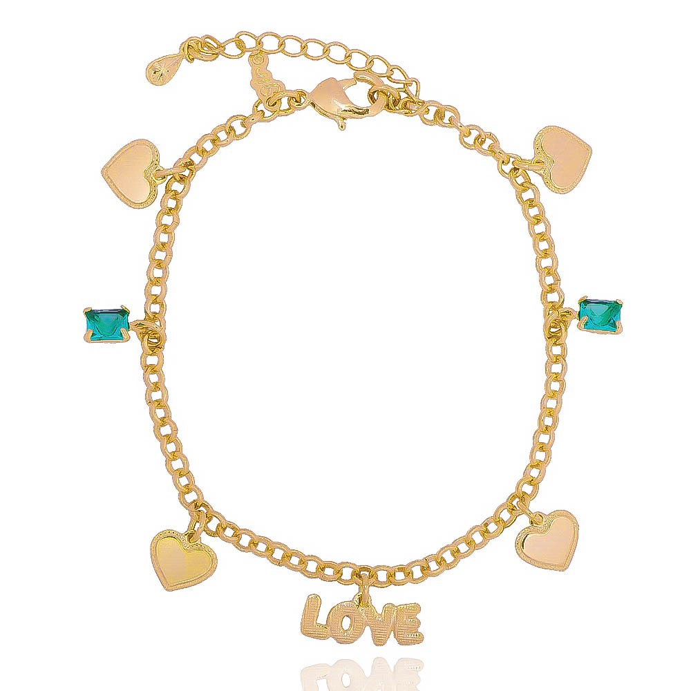 Pulseira Elo Português Love com Corações e Pedra em Cristal Verde Folheada em Ouro 18k - Giro Semijoias