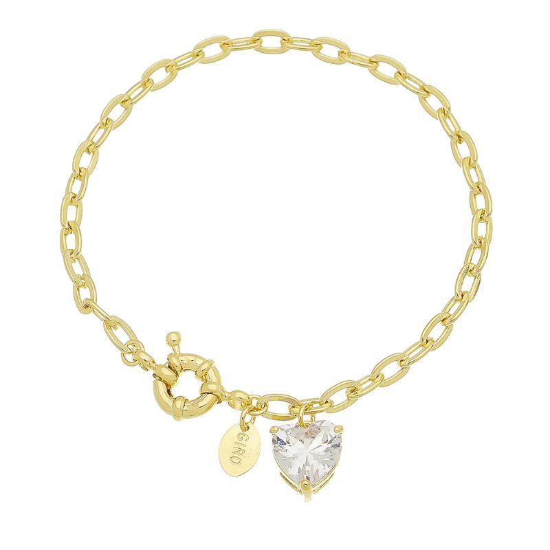 Pulseira Elos C/ Coração Cristal Ouro 18k-Giro Semijoias