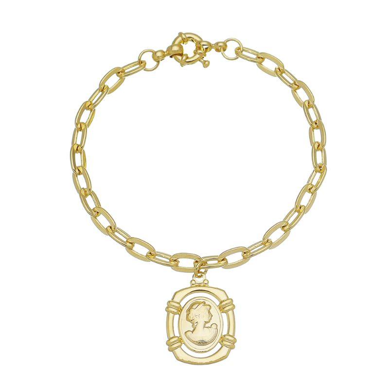 Pulseira Elos Cartier com Medalha Camafeu Follheada em Ouro 18k
