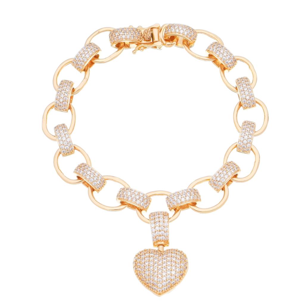Pulseira Elos Cartier com Pingente de Coração Cravejado em Zircônias G Folheada em Ouro 18k