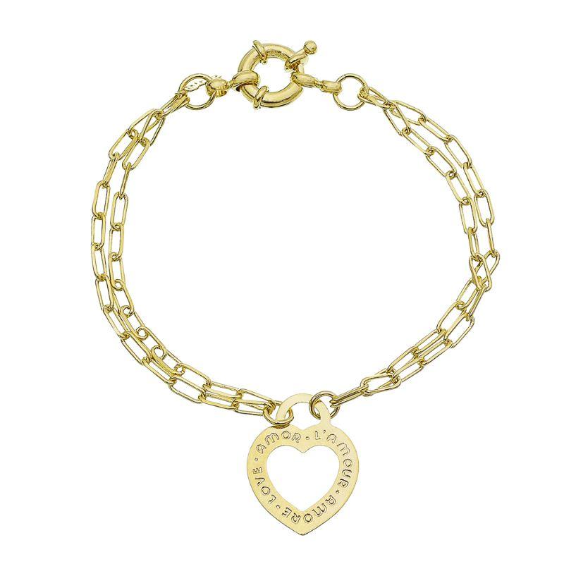 Pulseira Elos Cartier com Pingente de Coração Folheada em Ouro 18k - Giro Semijoias