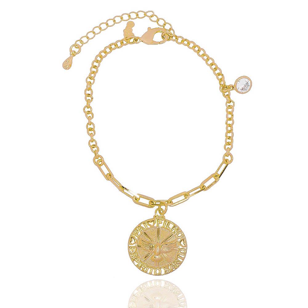 Pulseira Elos com Medalha do Espírito Santo com Ponto de Luz em Zircônia Folheada em Ouro 18k