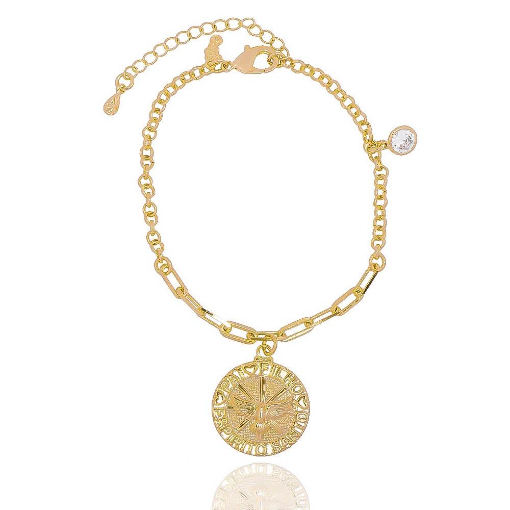 Pulseira Elos com Medalha do Espírito Santo com Ponto de Luz em Zircônia Folheada em Ouro 18k - Giro Semijoias