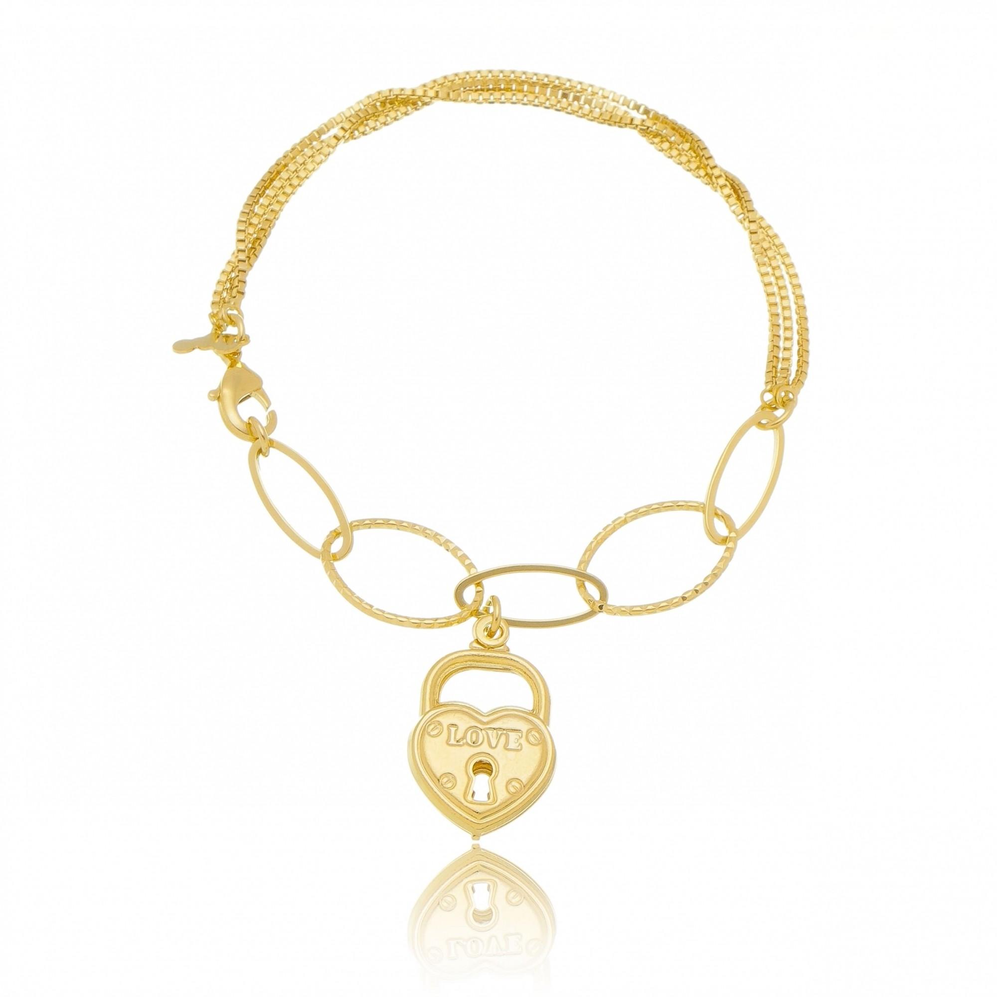 Pulseira Elos com Pingente de Cadeado de Coração Folheado em Ouro 18k - Giro Semijoias