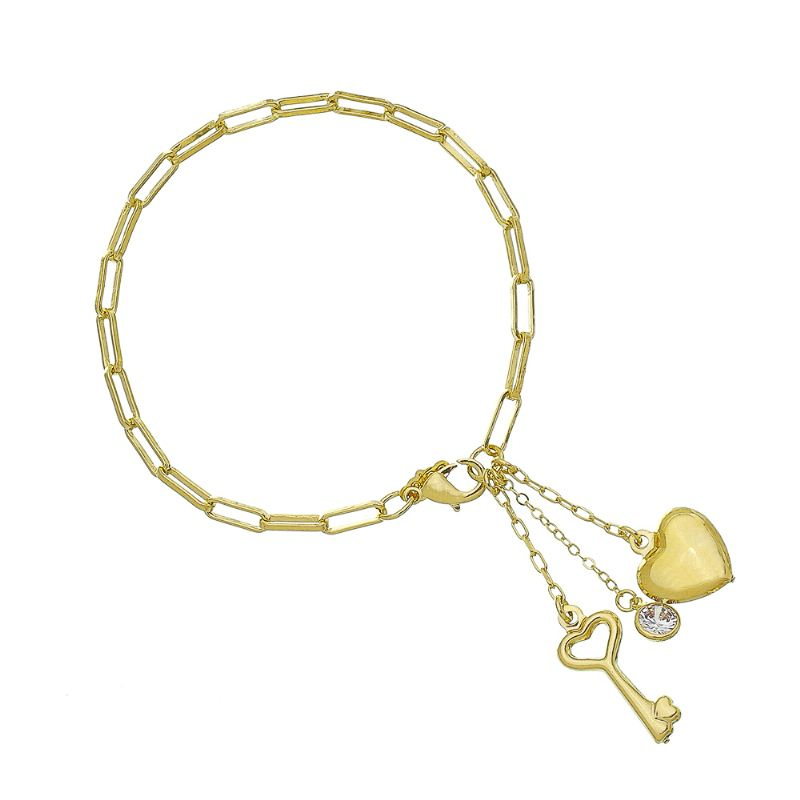 Pulseira Elos com Pingentes de Chave, Coração e Ponto de Luz em Zircônia Folheada em Ouro 18k