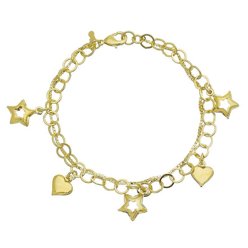 Pulseira Elos Duplos com Estrelas Vazadas e Coração Liso Folheada em Ouro 18k