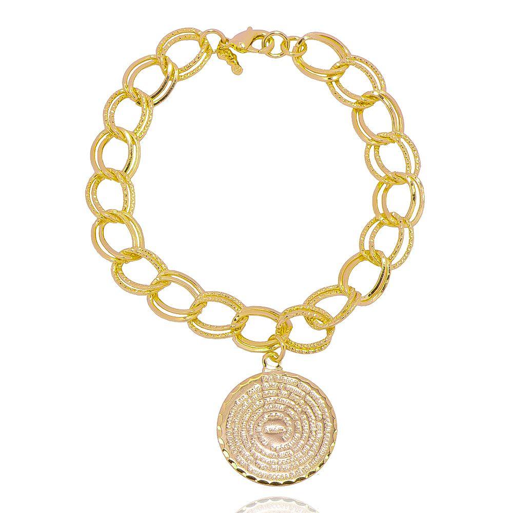 Pulseira Elos Duplos Groumet Texturizada com Medalha do Pai Nosso Folheada em Ouro 18k - Giro Semijoias