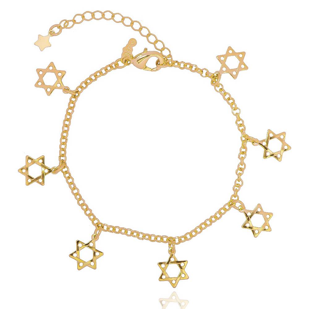 Pulseira Elos Português com Estrelas de Davi Folheado em Ouro 18k