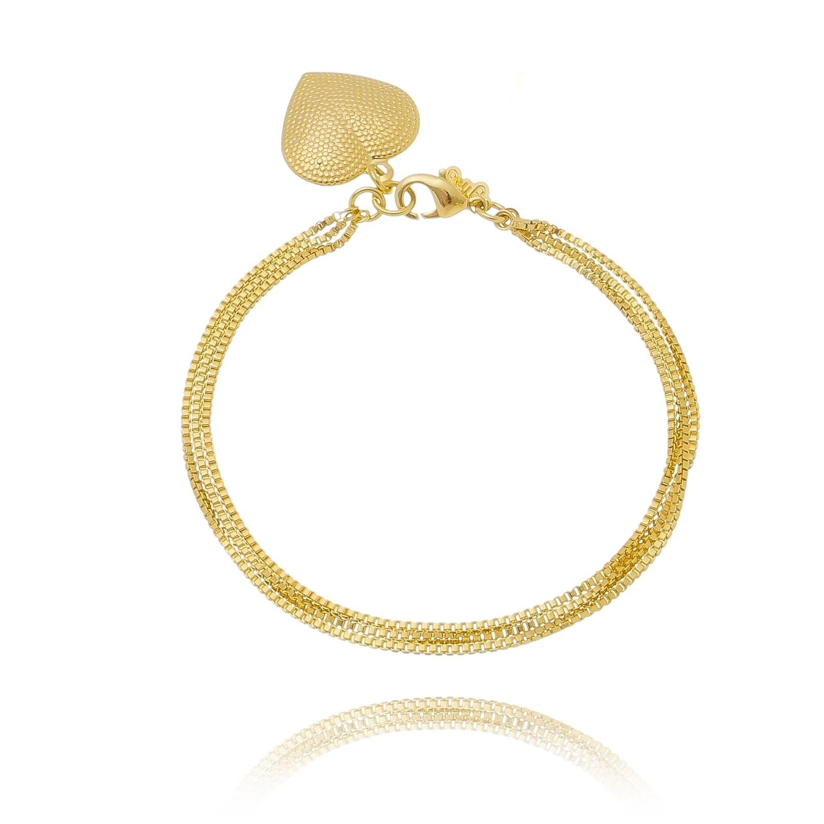 Pulseira Elos Veneziana e Pingente de Coração Texturizado Folheado em Ouro 18k - Giro Semijoias