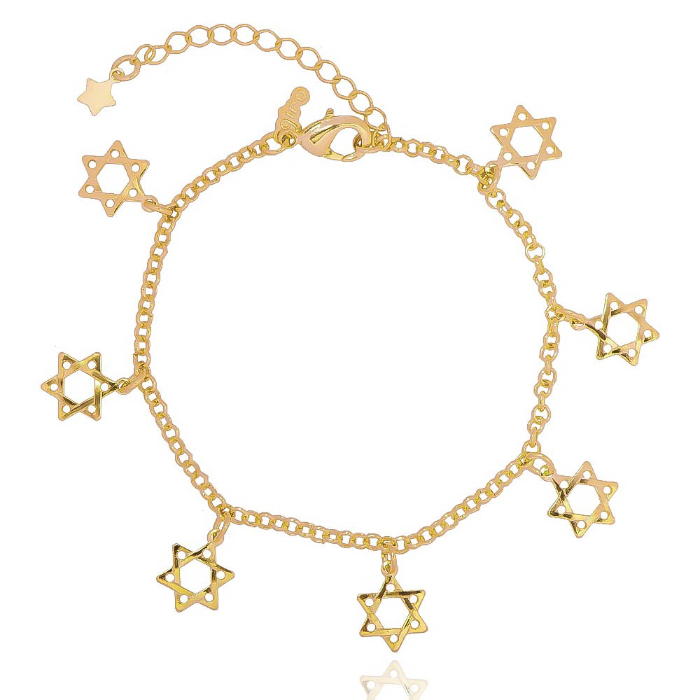 Pulseira Estrela de Davi Banho Ouro 18k - Giro Semijoias