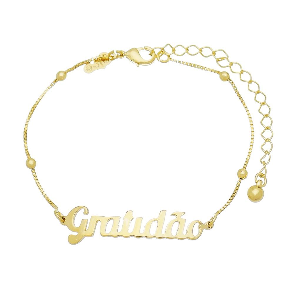 Pulseira Gratidão Folheado  Ouro 18k-Giro Semijoias