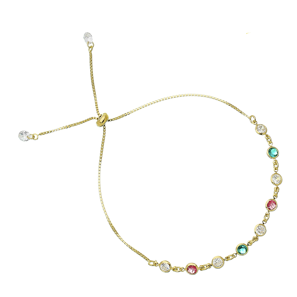Pulseira Gravata C/ Ponto de Luz Colorido Urey - Banho Ouro 18k
