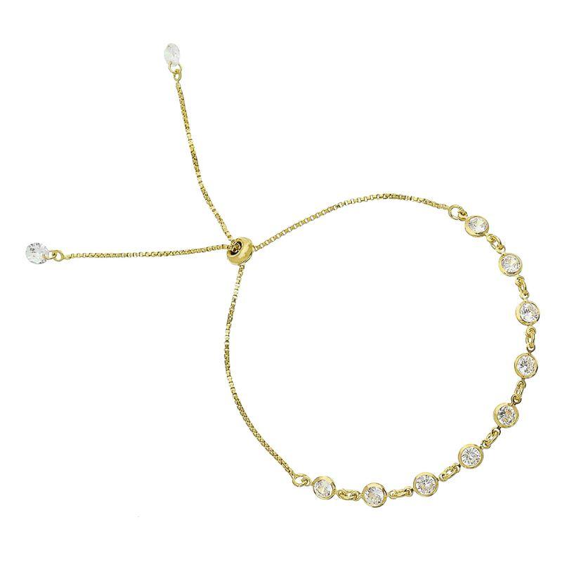 Pulseira Gravata C/ Ponto de Luz Incolor Ouro 18k