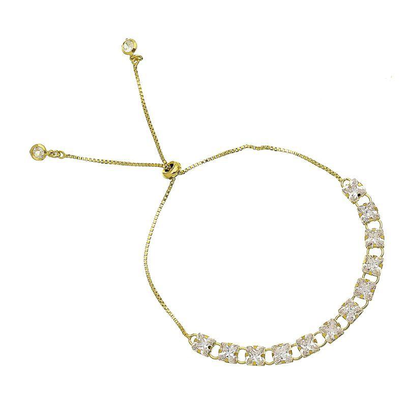 Pulseira Gravata C/ Zircônia Incolor Quadrado Folheado com Ouro 18k Giro Semijoias