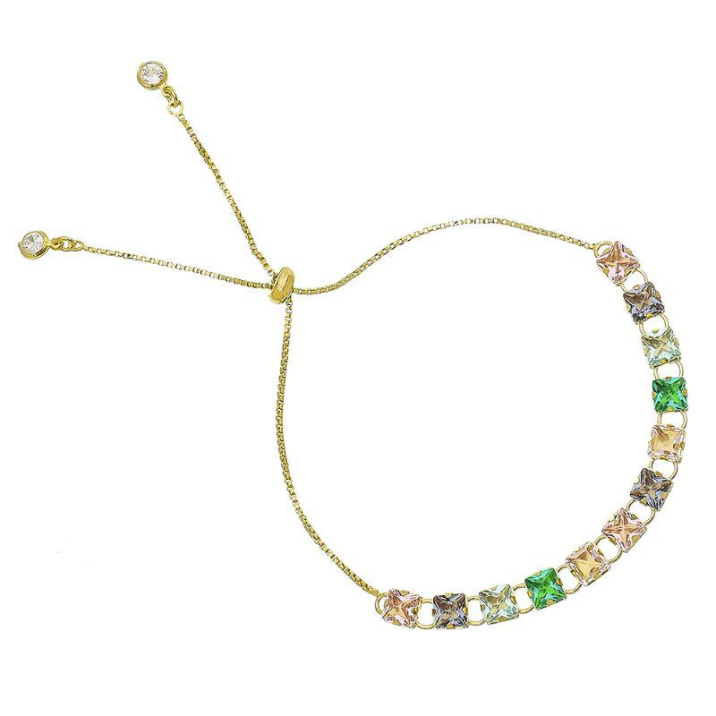 Pulseira Gravata com Quadrados Coloridos em Zircônia Folheada com Ouro 18k