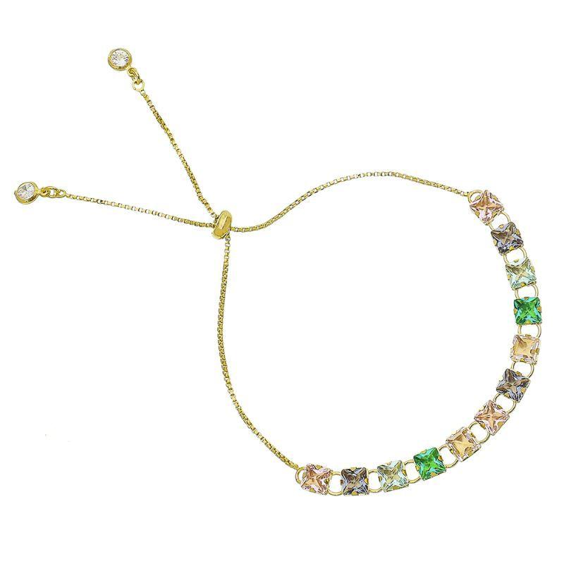 Pulseira Gravata Zircônia Quadrados Coloridos Folheado com Ouro 18k-Giro Semijoias