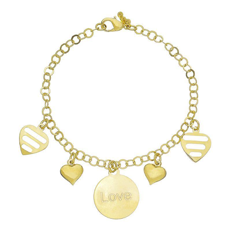 Pulseira Love C/ Corações Lisos e Vazados Ouro 18k-Giro Semijoias