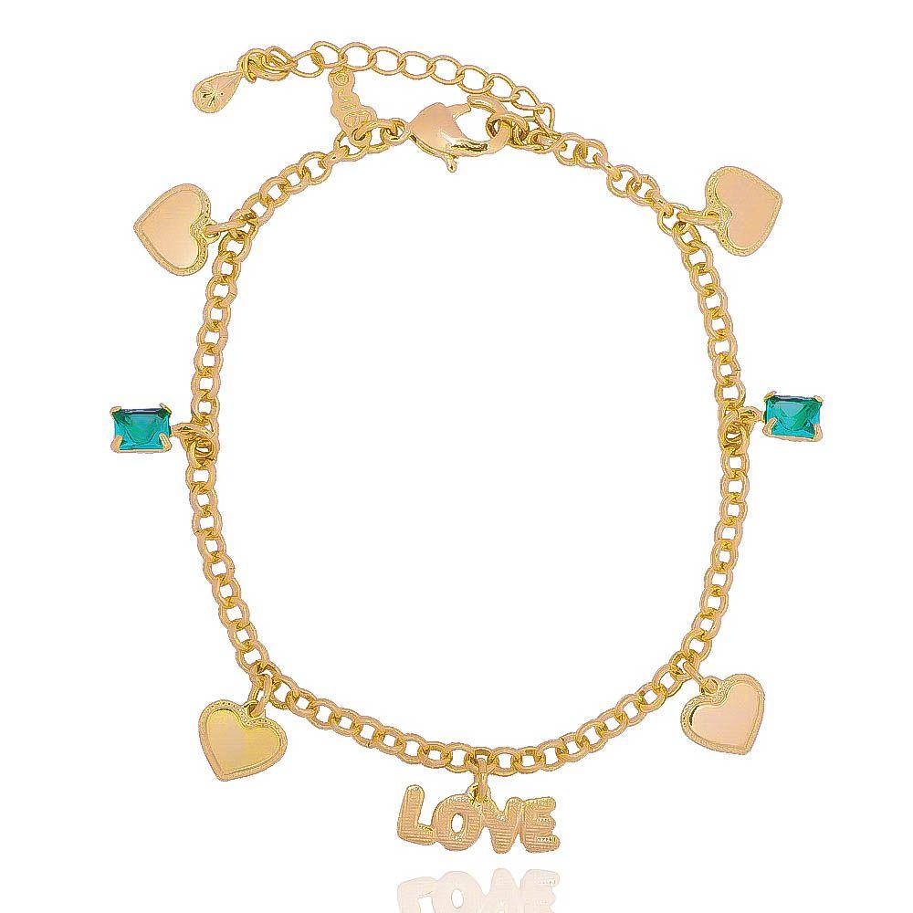 Pulseira Love com Corações e Zircônia Ouro 18k - Giro Semijoias