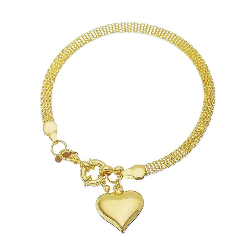 Pulseira Malha C/ Pingente de Coração Folheado com Ouro 18k-Giro Semijoias