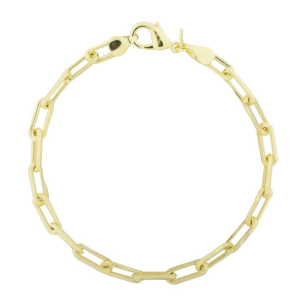 Pulseira Masculina Grossa Malha Cartier Folheada em Ouro 18k - Giro Semijoias