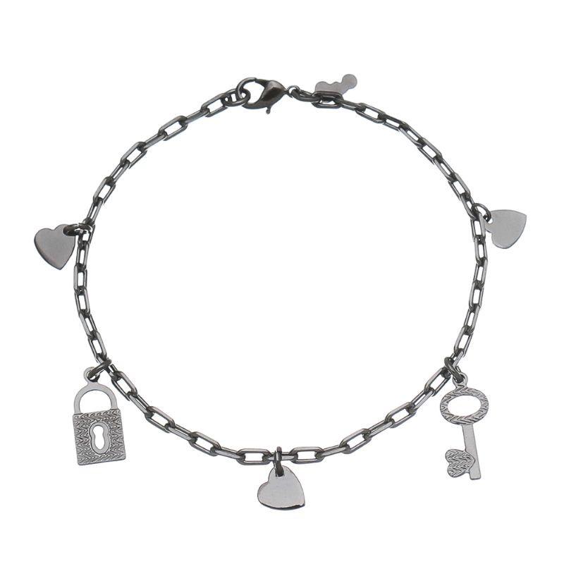 Pulseira Pingentes Coração, Chave e Cadeado Folheado em Ródio Negro - Giro Semijoias