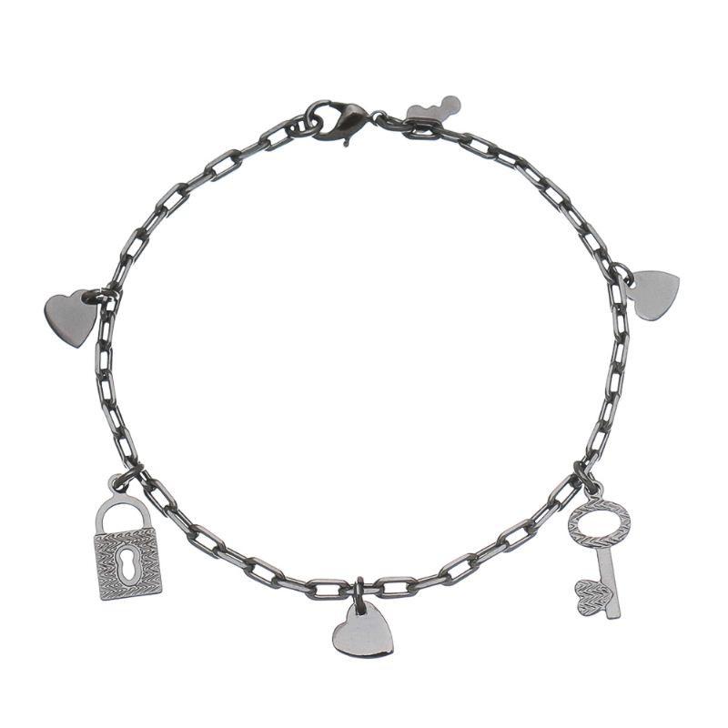 Pulseira Pingentes Coração, Chave e Cadeado Ouro 18k-Giro Semijoias