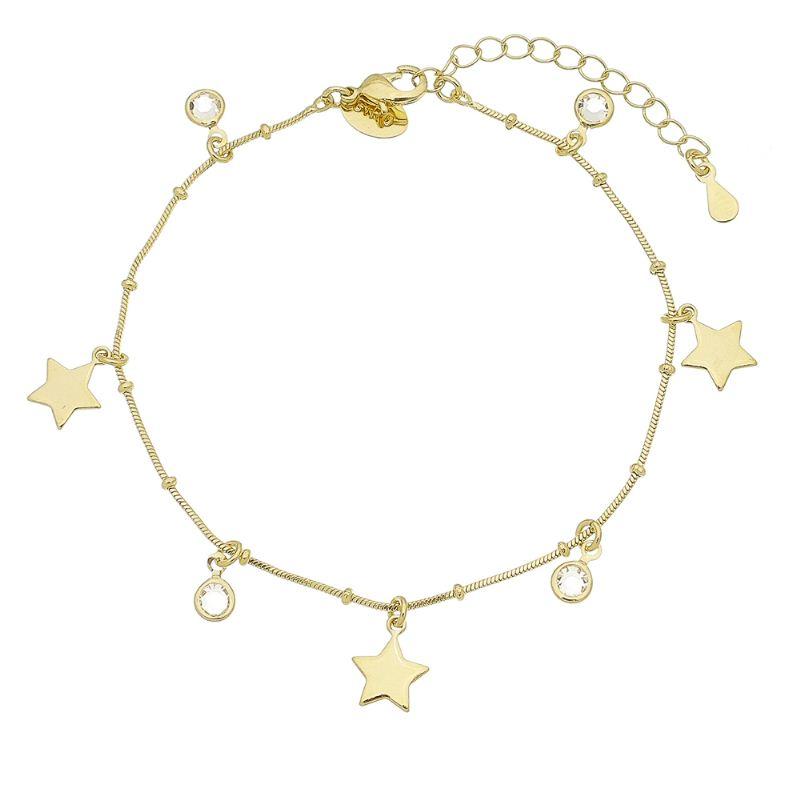 Pulseira Ponto De Luz em Zircônia Com Estrela Folheada em Ouro 18k