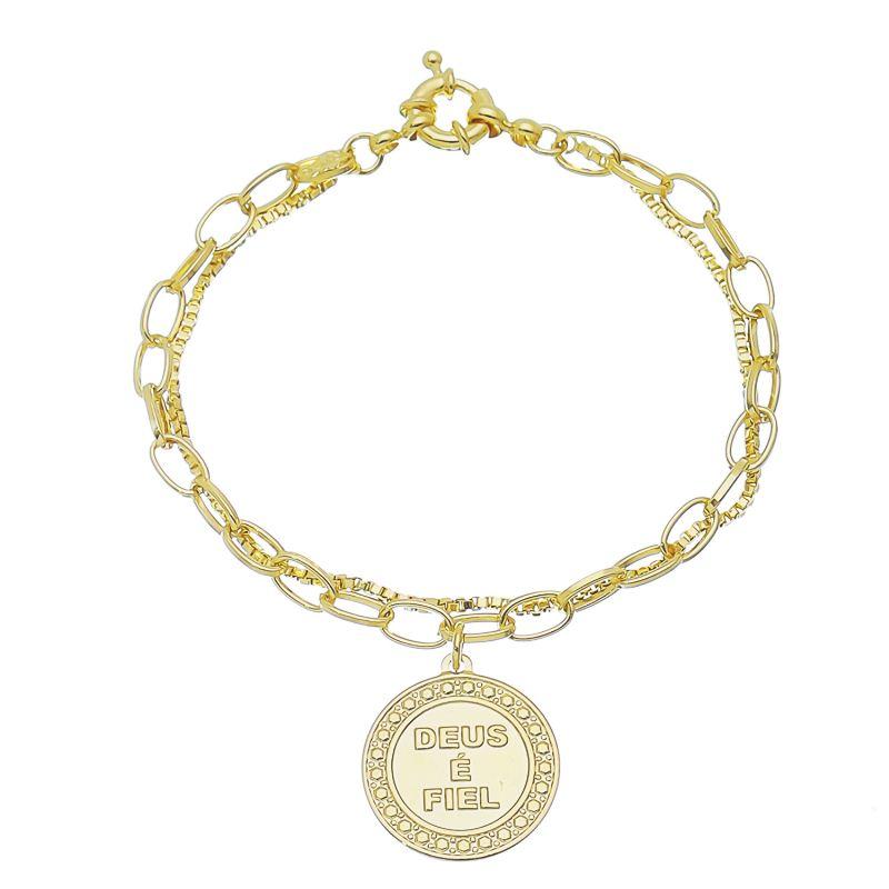 Pulseira Religiosa Dupla Elo Veneziana e Cartier com Medalha Deus é Fiel Folheada em Ouro 18k