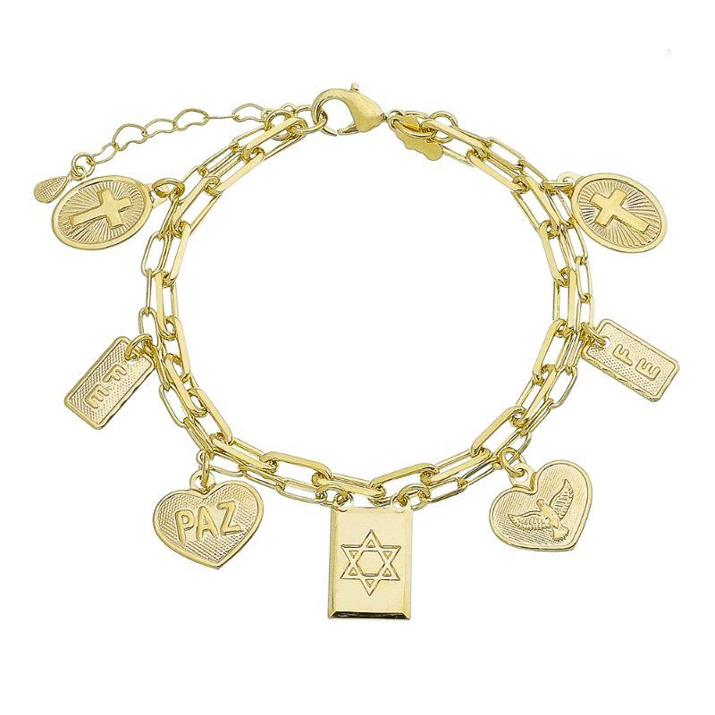 Pulseira Religiosa Elos Cartier Dupla com Pingentes de Cruz, Estrela de Davi, Espírito Santo e Coração Folheada em Ouro 18k