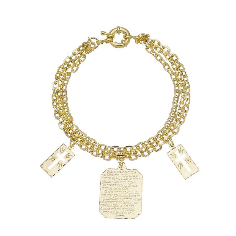 Pulseira Religiosa Elos Cartier Triplo com Medalha Pai Nosso e Cruz Folheado em Ouro 18k