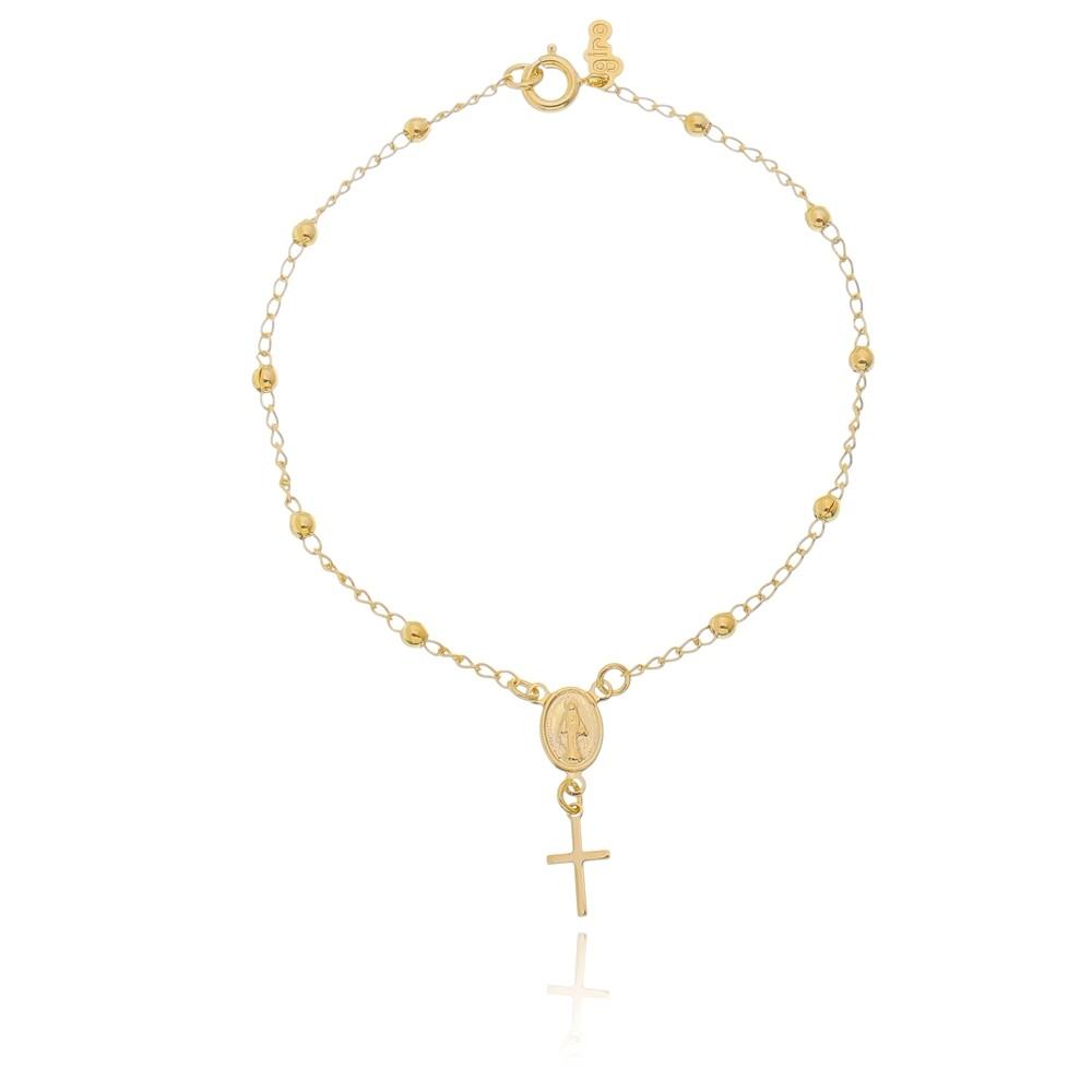 Pulseira Terço de Nossa Senhora Folheada em Ouro 18k - Giro Semijoias