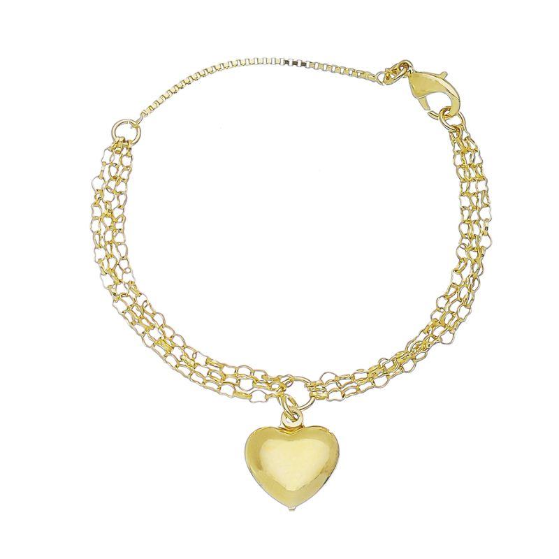 Pulseira Tripla Elo Coração com Pingente de Coração Folheado em Ouro 18k