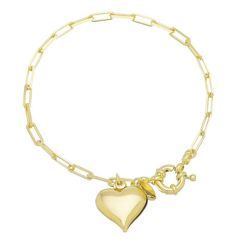 Pulsera Elo Quadrado C/ Coração  Ouro 18k-Giro Semijoias