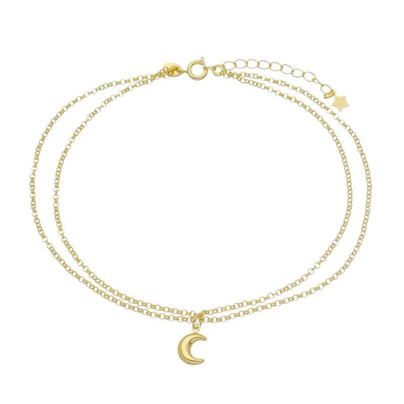 Tornozeleira Dupla C/ Pingente de Lua Rasalas - Banho Ouro18k