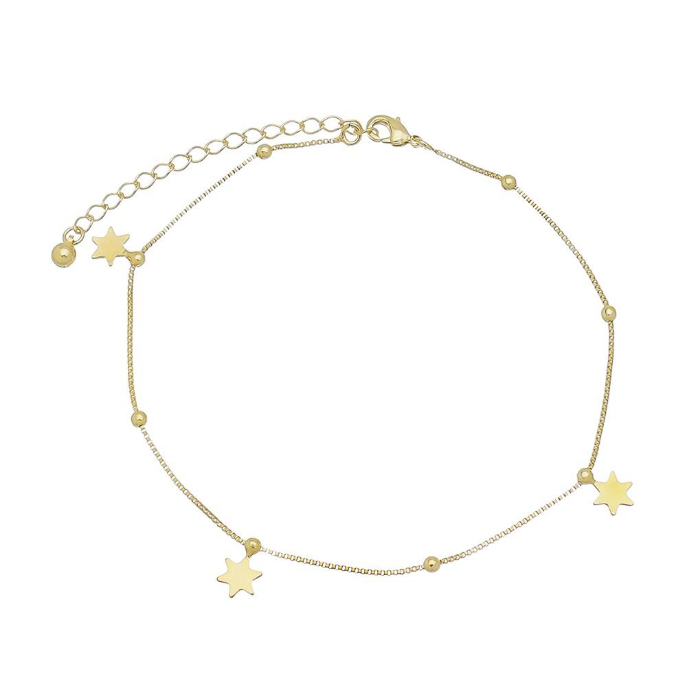 Tornozeleira Estrelas C/ Bolinhas Hergé - Banho Ouro 18k