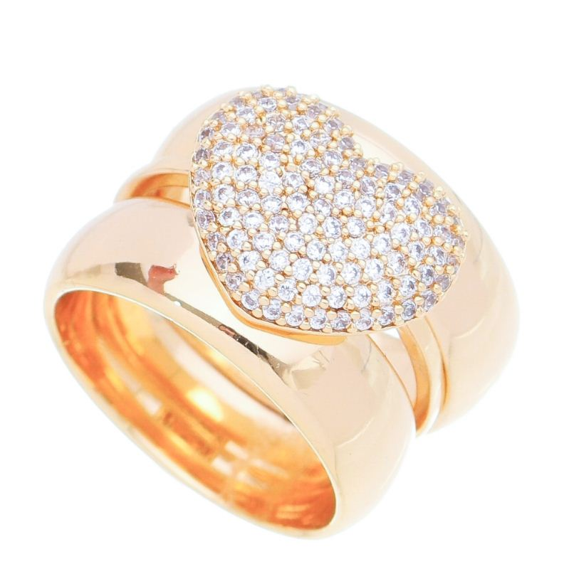 Trio de Anéis com Coração Cravejado em Zircônias Folheado em  Ouro 18k