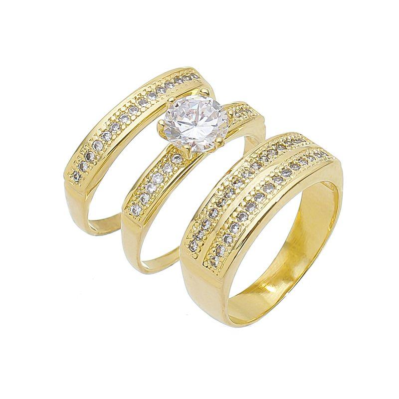 Trio de Anéis Solitário com Zircônia e Aparador Cravejado em Zircônias Folheado em Ouro 18k