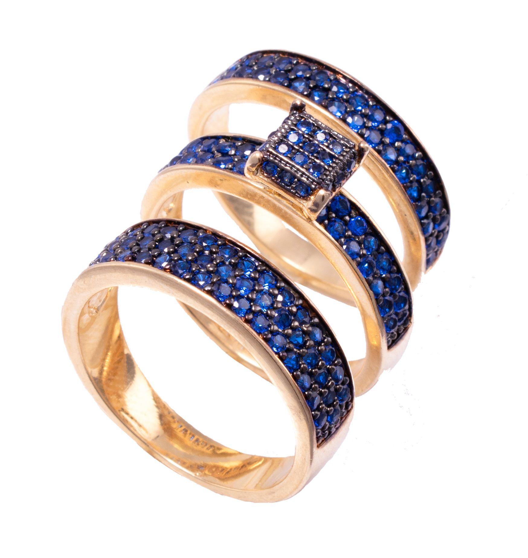 Trio de Anéis Solitário e Aparador com Zircônia Azul Folheado em Ouro 18k - Giro Semijoias